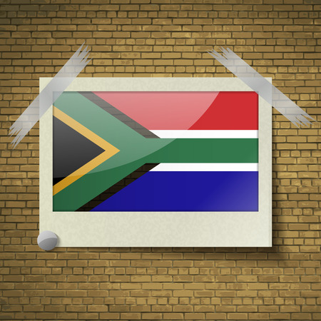 cape town: Flags of South Afreica at frame on a brick background. Vector illustration