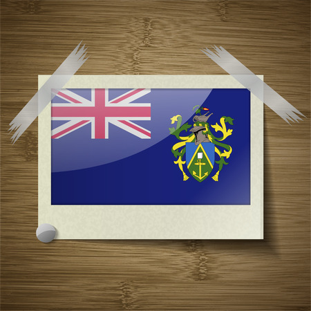 pitcairn: Flags of Pitcairn Islands at frame on wooden texture. Vector illustration