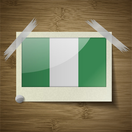 anthem: Flags of Nigeria at frame on wooden texture. Vector illustration