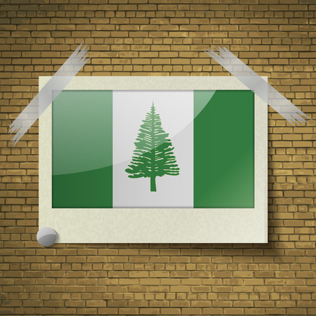 kingston: Flags of Norfolk Island at frame on a brick background. Vector illustration