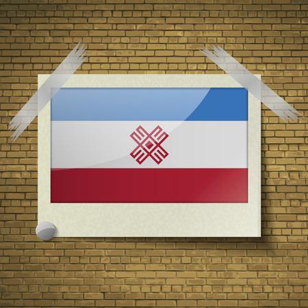 dependency: Flags of Mari El at frame on a brick background. Vector illustration