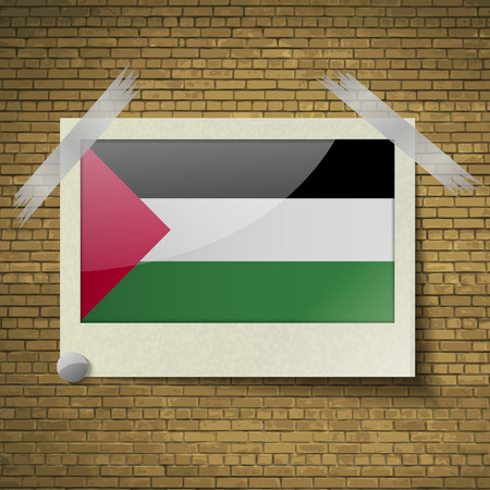 flagged: Flags of Palestine at frame on a brick background. Vector illustration