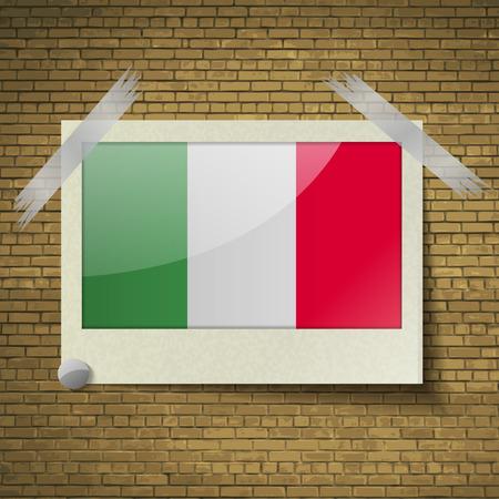 brick background: Bandiere d'Italia a telaio su uno sfondo di mattoni. Illustrazione vettoriale
