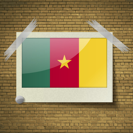 Flags of cameroon at frame on a brick background. Vector illustration Vector