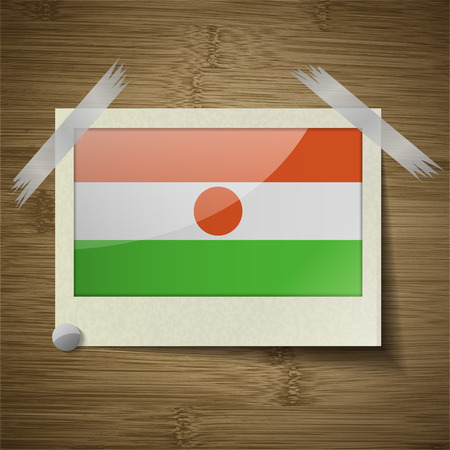 proportion: Flags of Niger at frame on wooden texture. Vector illustration