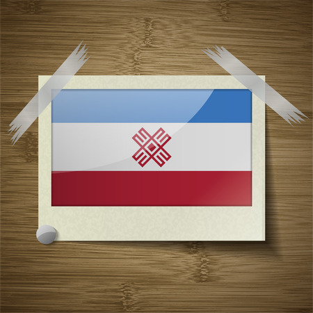 dependency: Flags of Mari El at frame on wooden texture. Vector illustration