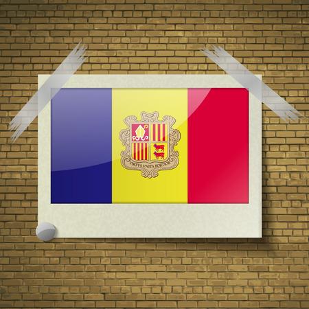 andorra: Flags of Andorra at frame on a brick background. Vector illustration Illustration