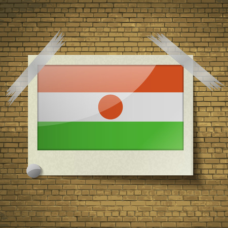 proportion: Flags of Niger at frame on a brick background. Vector illustration at frame on a brick background. Vector illustration