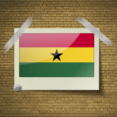 Flags of Ghana at frame on a brick background. Vector illustration Vector