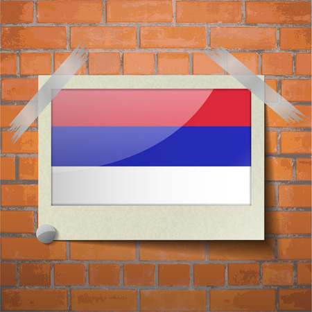 republika: Flags of Republika Srpska scotch taped to a red brick wall. Vector