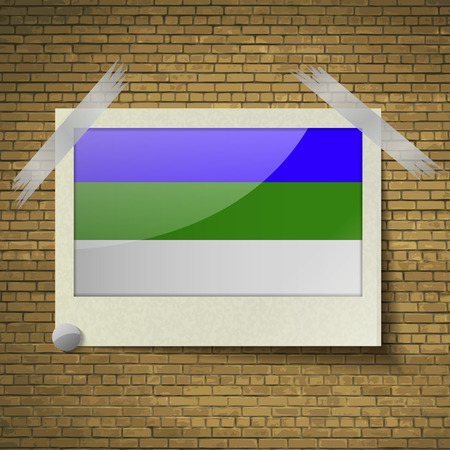 northwestern: Flags of Komi at frame on a brick background. Vector illustration