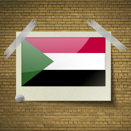 correctly: Flags of Sudan at frame on a brick background. Vector illustration Illustration