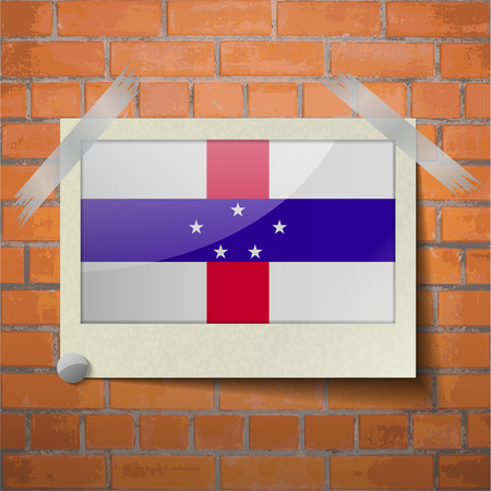 antilles: Flags of Netherlands Antilles scotch taped to a red brick wall. Vector