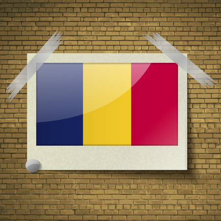 brick background: Flags of Chad at frame on a brick background. Vector illustration