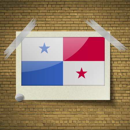 Flags of Panama at frame on a brick background. Vector illustration