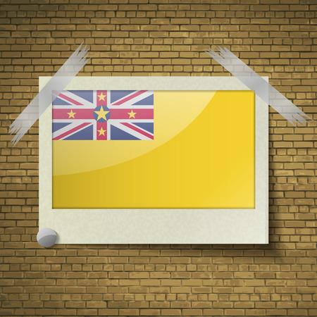 brick background: Bandiere di Niue a telaio su uno sfondo di mattoni. Illustrazione vettoriale