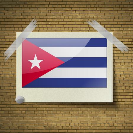 brick background: Bandiere di Cuba in cornice su uno sfondo di mattoni. Illustrazione vettoriale