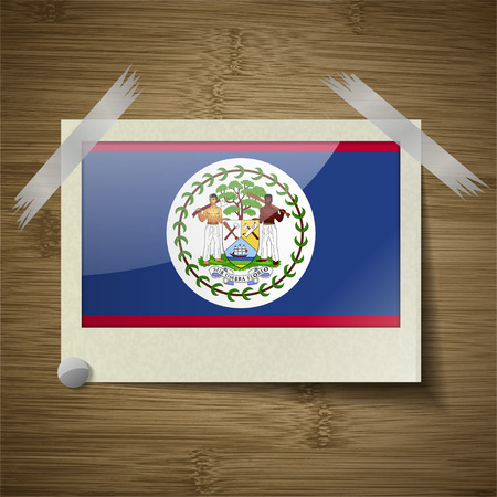 belize: Flags of Belize at frame on wooden texture. Vector illustration