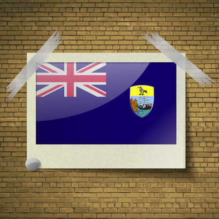 brick background: Flags of Saint Helena at frame on a brick background. Vector illustration