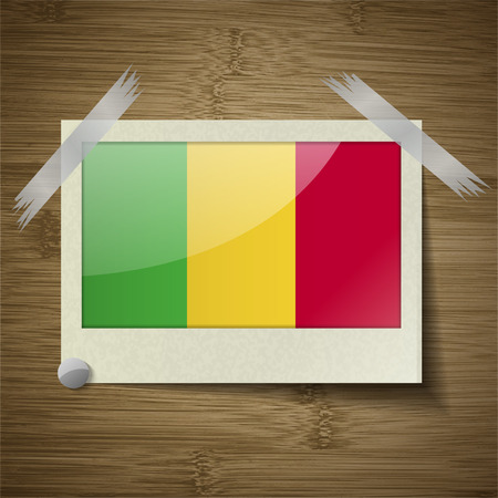 bamako: Flags of Mali at frame on wooden texture. Vector illustration Illustration
