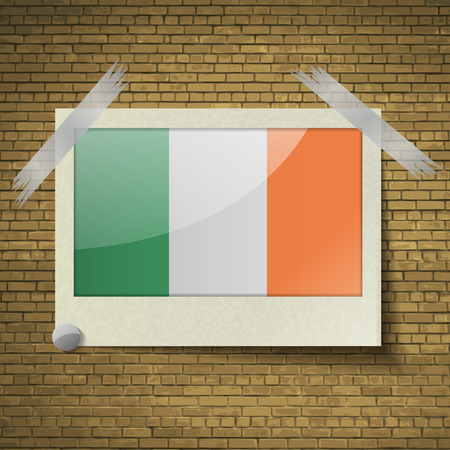brick background: Flags of Ireland at frame on a brick background. Vector illustration