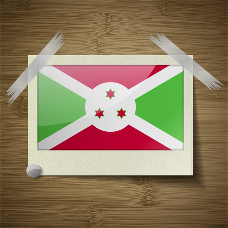 proportional: Flags of Burundi at frame on wooden texture. Vector illustration