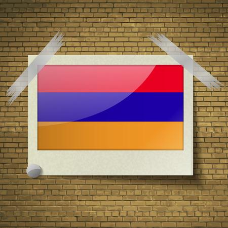 brick background: Bandiere di Armenia in cornice su uno sfondo di mattoni. Illustrazione vettoriale Vettoriali