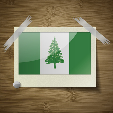 kingston: Flags of Norfolk Island at frame on wooden texture. Vector illustration