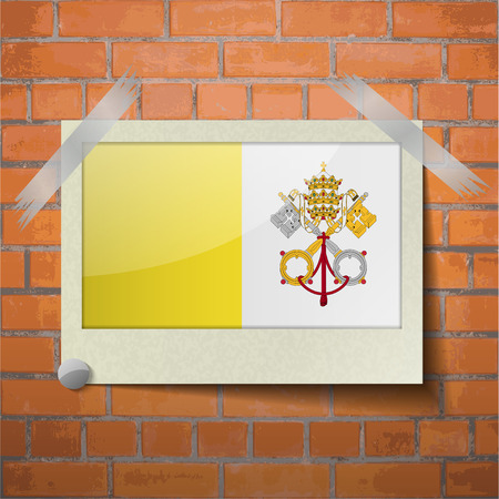 roman catholic: Flags of Vatican CityHoly See scotch taped to a red brick wall. Vector Illustration