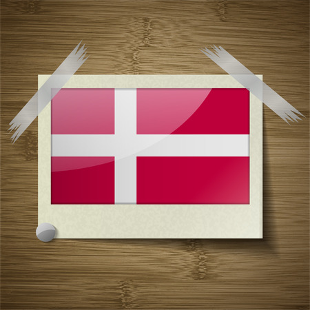 europe closeup: Flags of Denmark at frame on wooden texture. Vector illustration Illustration