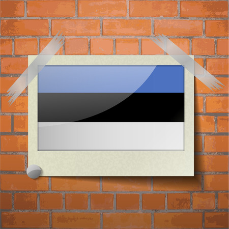 europe closeup: Flags of Estonia scotch taped to a red brick wall. Vector Illustration