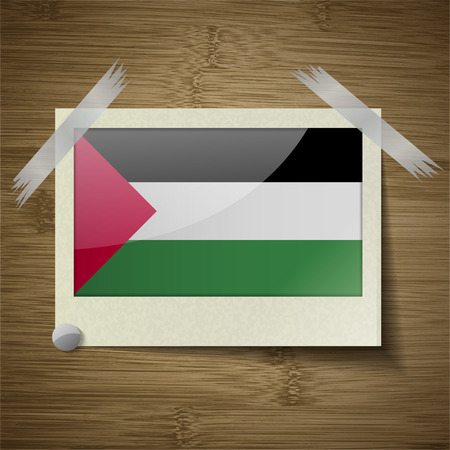 flagged: Flags of Palestine at frame on wooden texture. Vector illustration