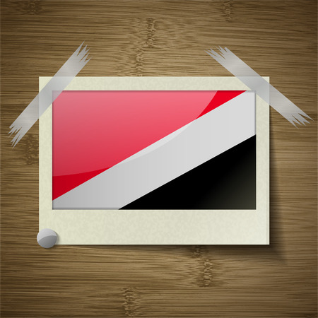 sealand: Flags of Sealand Principality at frame on wooden texture. Vector illustration