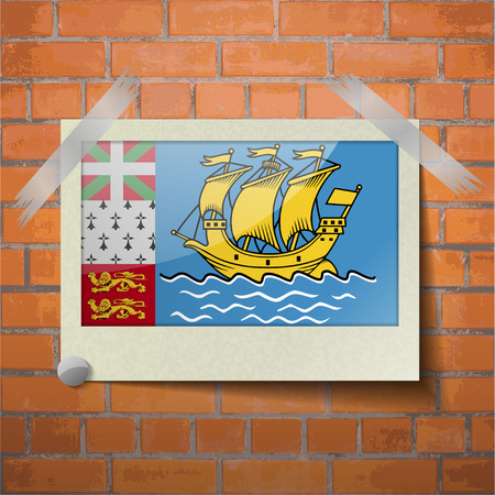 collectivity: Flags of Saint Pierre and Miquelon scotch taped to a red brick wall. Vector