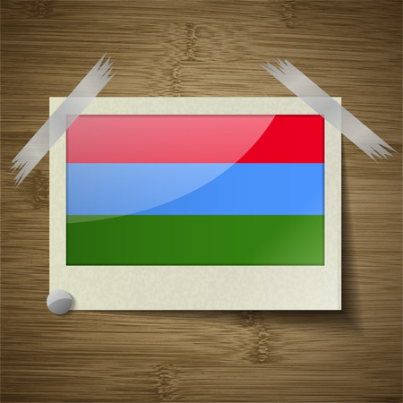 northwestern: Flags of Karelia at frame on wooden texture. Vector illustration Illustration