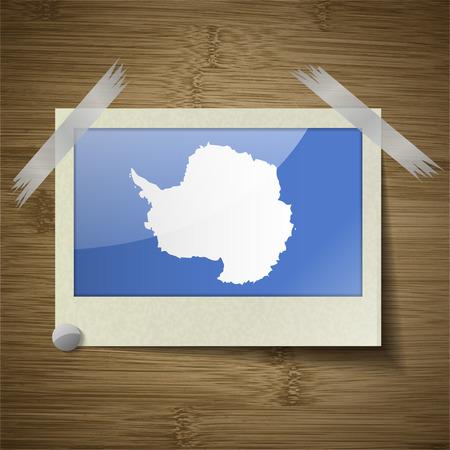 antartide: Bandiere dell'Antartide a telaio in struttura di legno. Illustrazione vettoriale