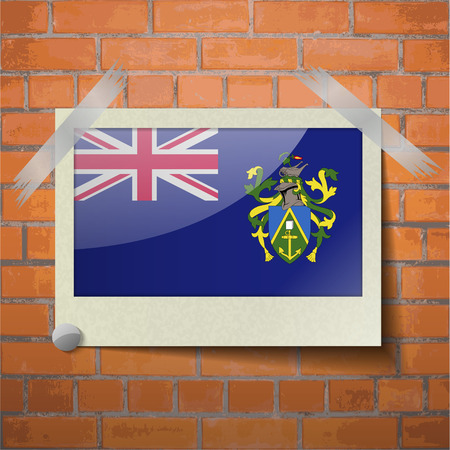 pitcairn: Flags of Pitcairn Islands scotch taped to a red brick wall. Vector
