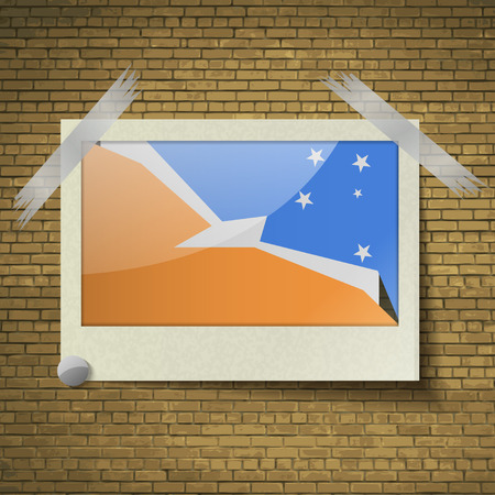 tierra: Flags of Tierra del Fuego Province at frame on a brick background. Vector illustration Illustration