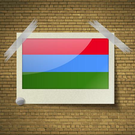 northwestern: Flags of Karelia at frame on a brick background. Vector illustration Illustration