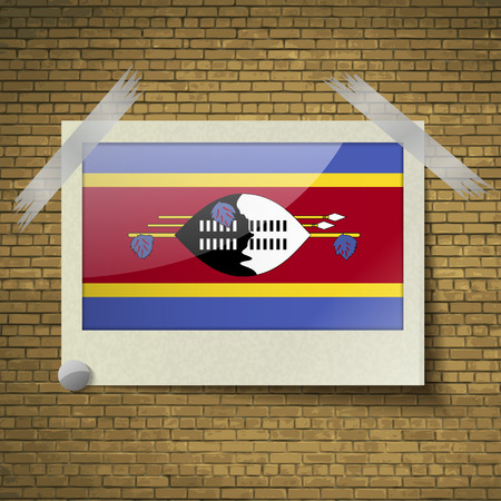 swaziland: Flags of Swaziland at frame on a brick background. Vector illustration