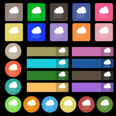 forecasting: snowing  icon sign. Set from twenty seven multicolored flat buttons. Vector illustration