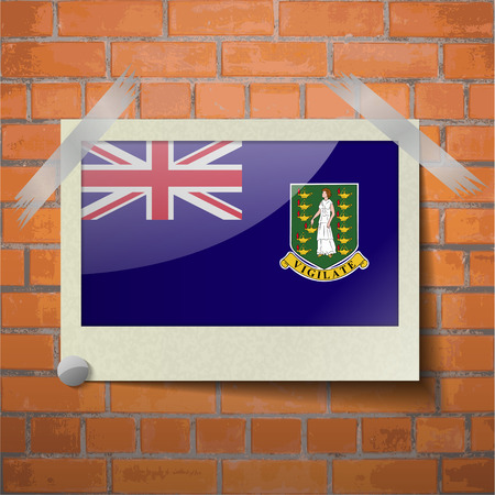 Flags of VirginIslandsUK scotch taped to a red brick wall. Vector