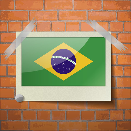 scotch: Flags of Brazil scotch taped to a red brick wall. Vector Illustration