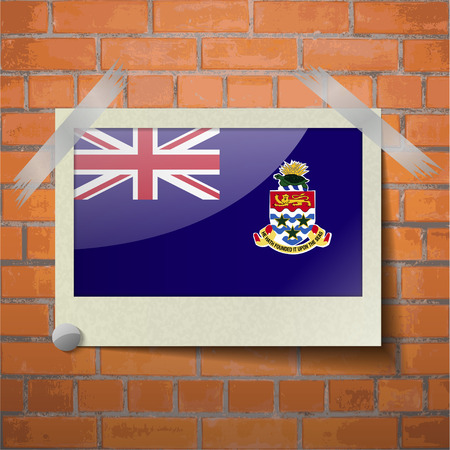 scotch: Flags of Cayman Islands scotch taped to a red brick wall. Vector