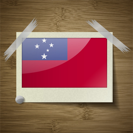 samoa: Flags of Samoa at frame on wooden texture. Vector illustration