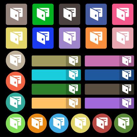 business card holder: eWallet, billetera electr�nica, tarjeta de visita icono Holder se�al. Fije de veintisiete botones planos multicolores. Ilustraci�n vectorial