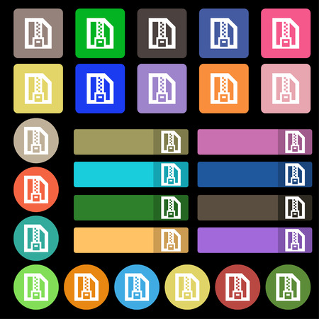 wrapped corner: Archive file, Download compressed, ZIP zipped  icon sign. Set from twenty seven multicolored flat buttons. Vector illustration Illustration