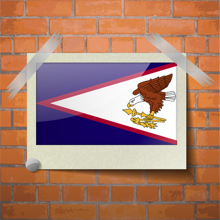 wallpaper  eps 10: Flags of American Samoa scotch taped to a red brick wall. Vector