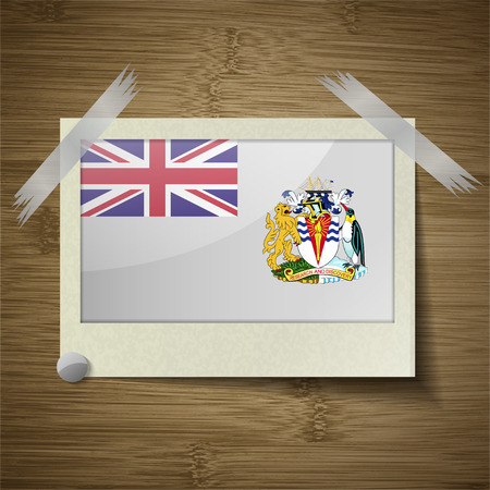 antarctic: Flags of British Antarctic Territory at frame on wooden texture. Vector illustration