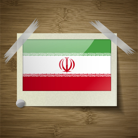 Flags of Iran at frame on wooden texture. Vector illustration